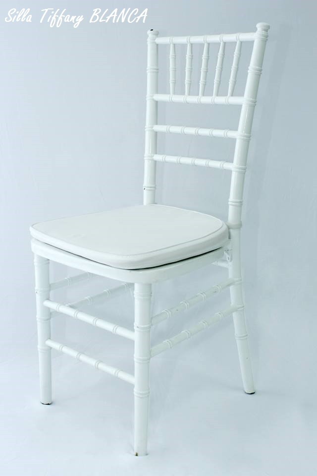 silla Tiffany blanca con cojín